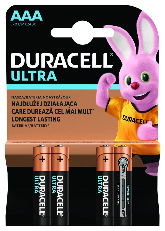 Blister 4 Pilhas Alcalinas 1,5V LR03 AAA - Duracell ULTRA POWER