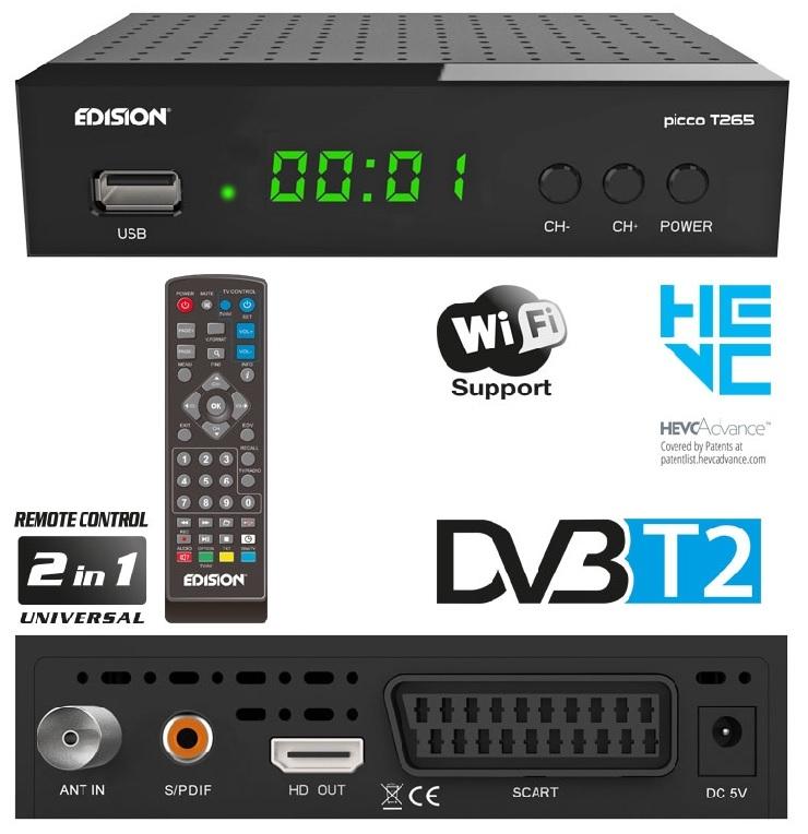 Receptor TDT DVB-T2 H.265 Full HD c/ USB - EDISION PICCO T265