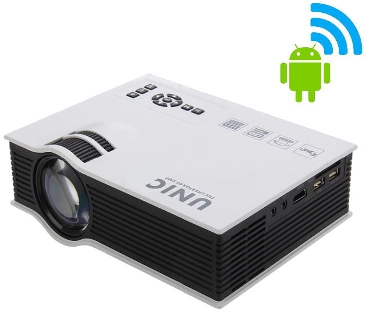 Video Projector Mini LED FullHD 1800 Lumens Wi-Fi ANDROID (USB/SD/HDMI/IP/IR/VGA) - Branco