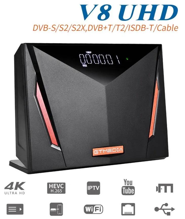 Receptor COMBO (Satélite DVB-S2X + Cabo DVB-C + TDT DVB-T2) UltraHD 4K Wi-Fi - GTMedia V8 UHD