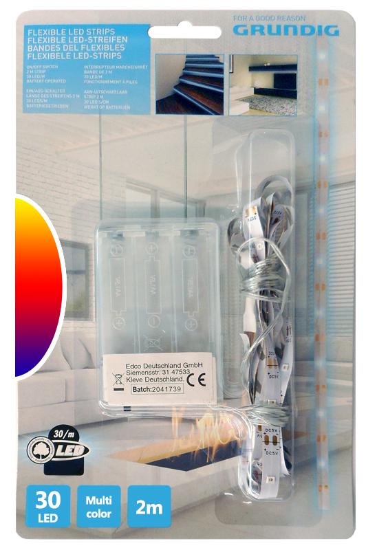Fita 30 LEDs Flexíveis 2mts c/ Interruptor (a pilhas) Multicor - GRUNDIG
