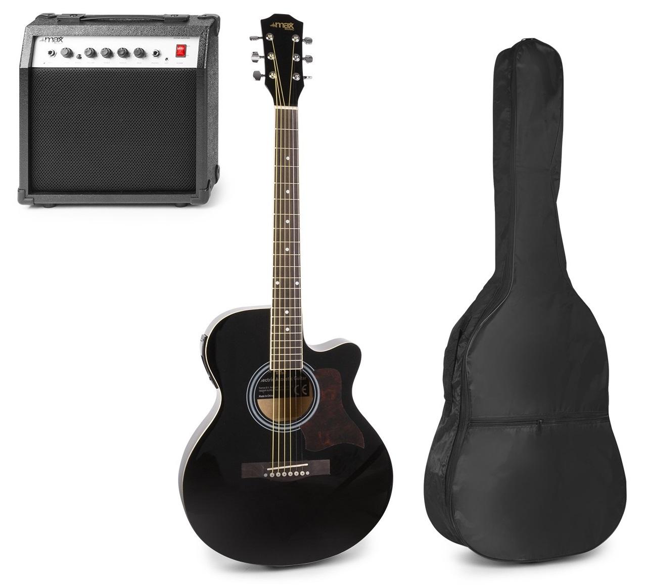 Pack Showkit Guitarra Acústica + Amplificador 40W + Acessórios (Preto) - MAX