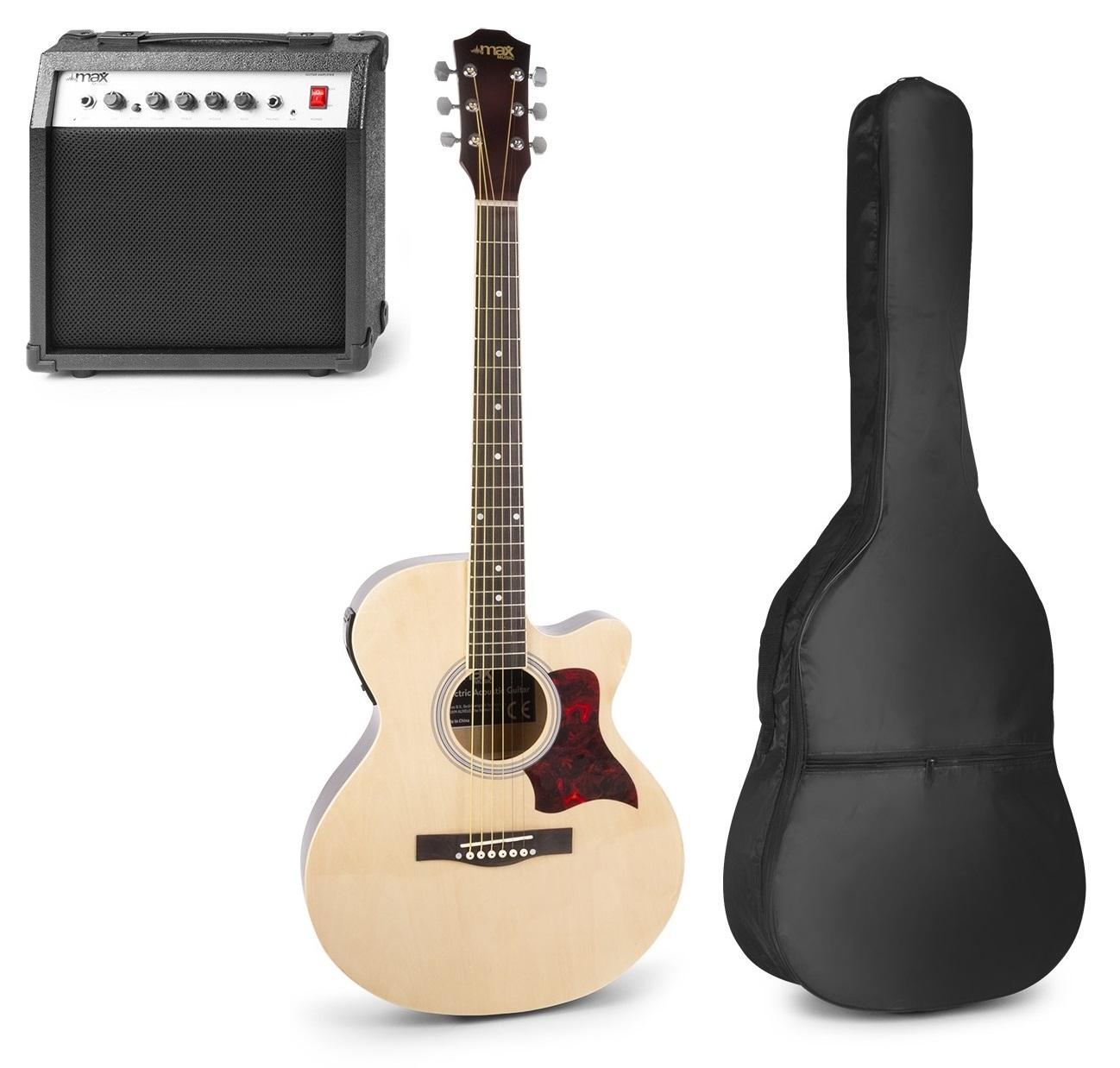 Pack Showkit Guitarra Acústica + Amplificador 40W + Acessórios (Madeira) - MAX