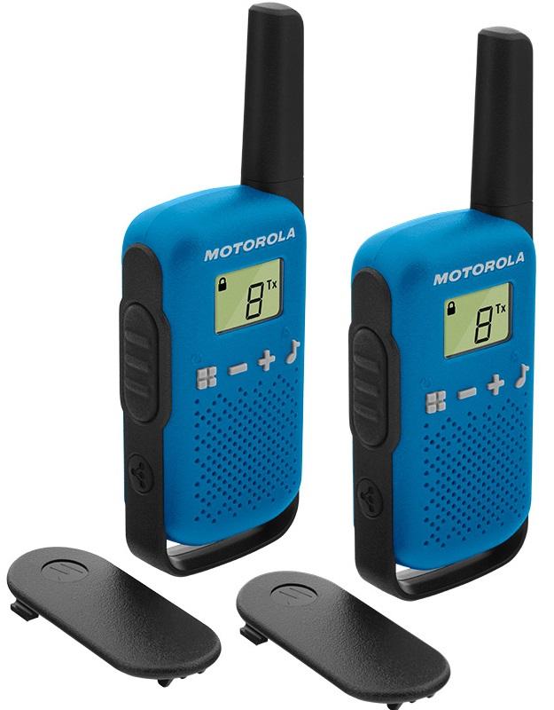 Intercomunicadores Walkie Talkie PMR RADIO 16 Canais (Alcance até 4 Km) Azul - MOTOROLA TLKR-T42