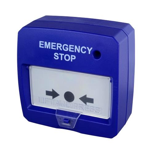 Botão de Alarme de Incêndio Rearmável c/ LED (Azul)