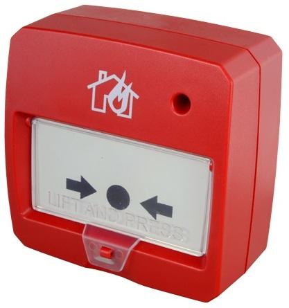 Botão de Alarme de Incêndio Rearmável c/ LED (Vermelho)