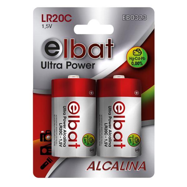 Blister 2 Pilhas Alcalinas LR20C 1.5V - ELBAT