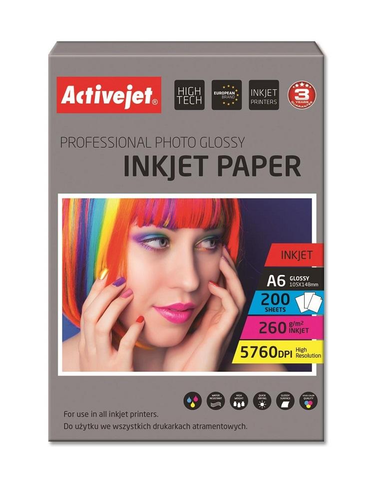Papel Fotográfico AP6-260GR200 A6 Lustro 200 Folhas - ACTIVEJET