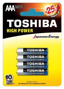 Blister 4 Pilhas Alcalinas 1,5V LR03 AAA - TOSHIBA