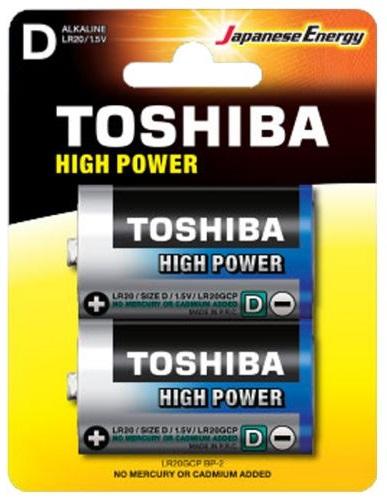 Blister 2 Pilhas Alcalinas 1,5V D / LR20 - TOSHIBA