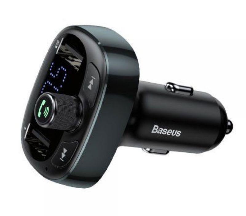 Transmissor FM de Isqueiro c/ 2x USB e Bluetooth (Preto) - BASEUS