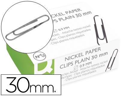 Clips Q-Connect Niquelados Plano N. 1,5 - 30 mm Caixa de 100 Unidades