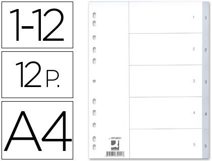 Separadores Numericos Q-Connect, A4, c/ 12 Separadores