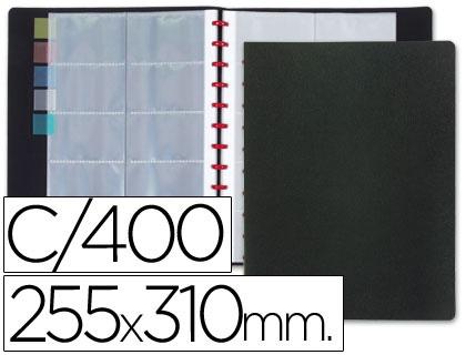 Porta Cartoes de Visita Aneis Plastico, Din A4, Capacidadee400 Unidades