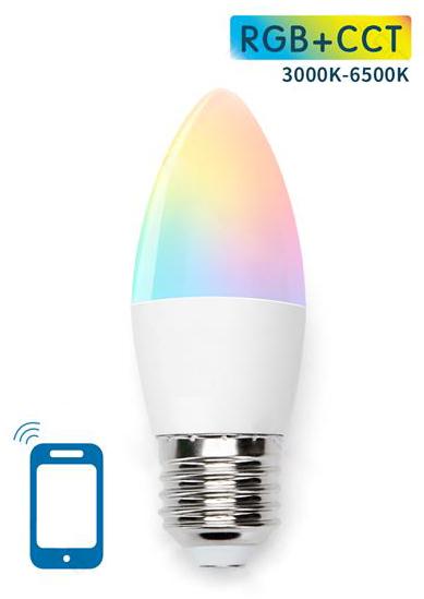 Lampada Smart LED E27 C37 220V 7W RGB + Branco 3000K ~ 6500K Wi-Fi