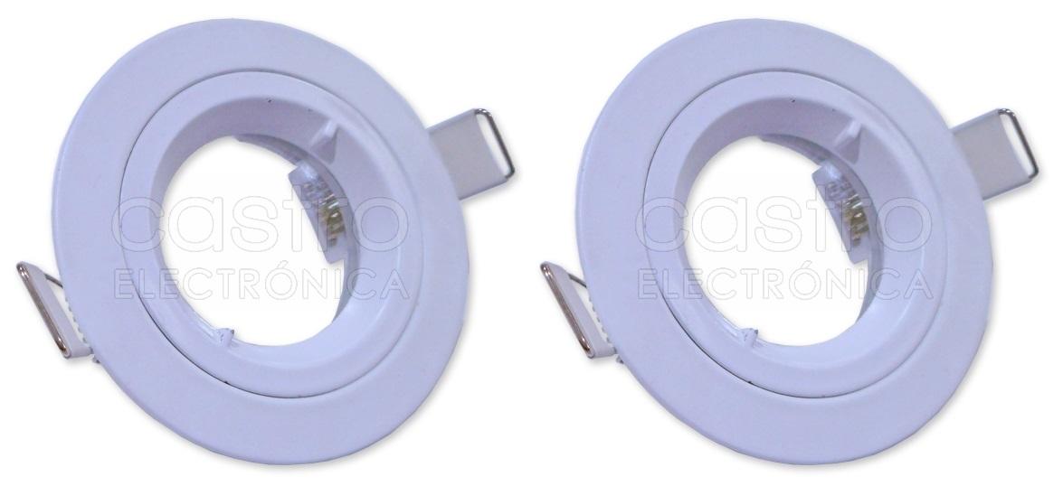 Pack 2x Aro Redondo Fixo Branco ESTANQUE IP65 p/ Lampadas MR16-GU10